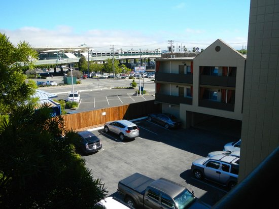 The Dylan at SFO: The BART station can be seen from this 3rd floor view across the hotel parking lot.