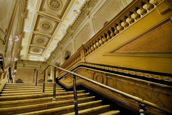 The magnificent marble staircase at the Princess Theatre