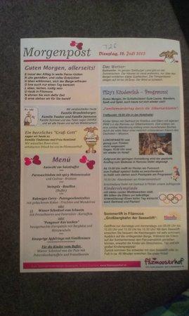Familienhotel Filzmooserhof: De morgenpost met menukaart