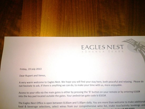 Eagles Nest: Personalized service