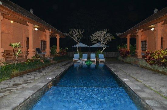 Bon Nyuh Bungalows : night shot of the pool area