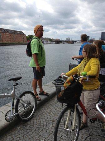 Bike Copenhagen with Mike: Mike giving us the hostory Of Copenhagen harbor
