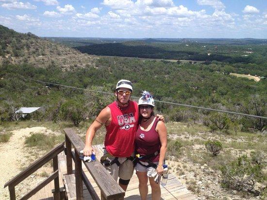 Wimberley Zipline Adventures: Us atop the tallest zipline of the tour.