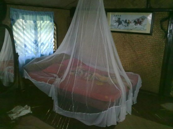 Sunbird Cottages: la chambre avec une moustiquaire trouée