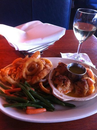"""East Bay Grill : Luke Warm """"Bird's Eye"""" onion rings & veggies served with shrimp with crab stuffing NOT lump crab"""