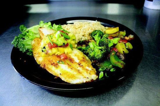 Bandanas Mexican Grille: Grilled Fish - today's fresh catch, grilled and topped with our pineapple mango salsa.