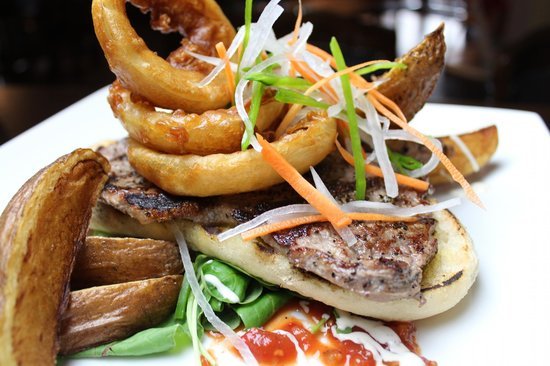 Oasis Bar and Restaurant: Open Steak Sandwich, Wedges, Onion rings and Dressed Leaves