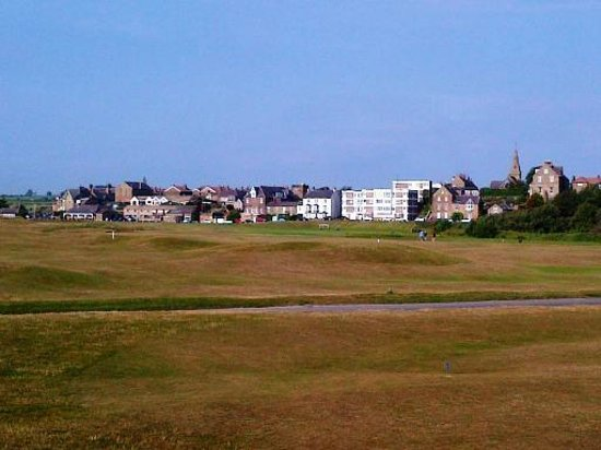 Alnmouth Village Golf Links: From the 3rd fairway back towards the clubhouse