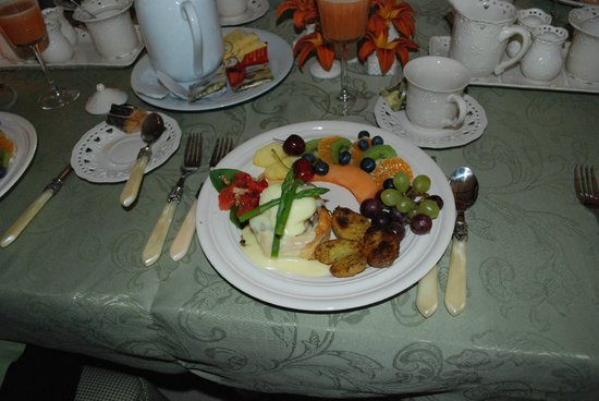 Le Plumard: one course of 1st morning's breakfast, each morning was different, food, table cloth & china