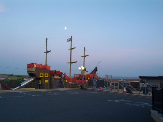 Sandymouth Holiday Park: pirate ship at sunset
