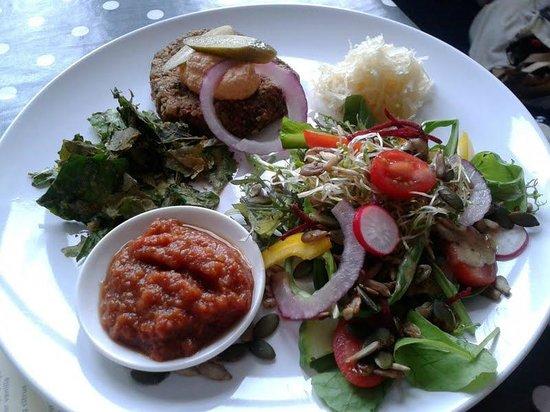 Orb raw food cafe: Brazil nut burger