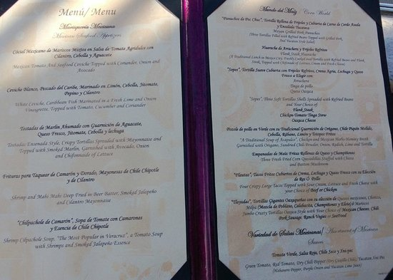 Royal Hideaway Playacar Es Restaurant Menu Lunch Mexican