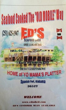 Ed's Seafood Shed: Front of the menu