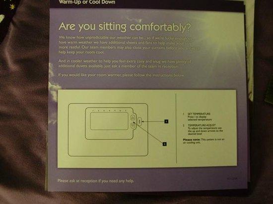 Premier Inn Runcorn Hotel: Guidance on room temperature