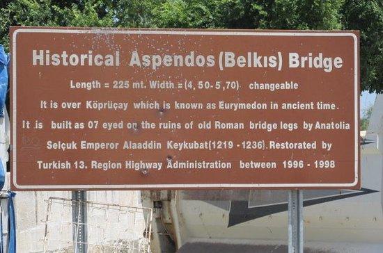 Aspendos Bridge: Bridge sign