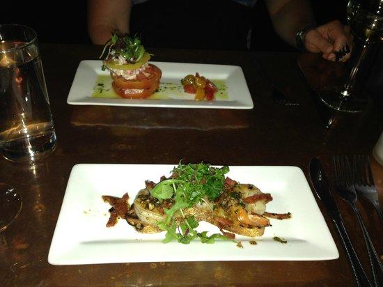Mache Bistro: Chorizo and Shrimp, Tomato and Lobster salad