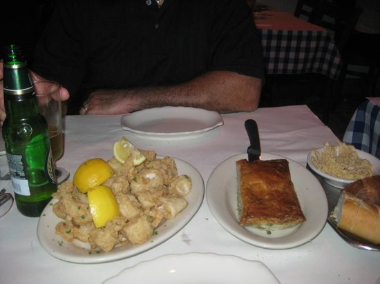 Greek Islands Taverna: Calamari and spinach pie