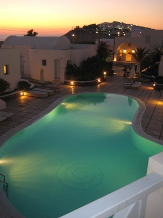 El Greco: view of pool at night from our balcony - one of the many pools