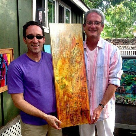 """Costantino Studio: Larry and I with a piece by Carlo Costantino.  Larry named it """"Love Story"""""""