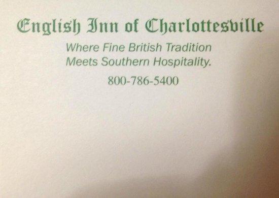 The English Inn of Charlottesville: Information...
