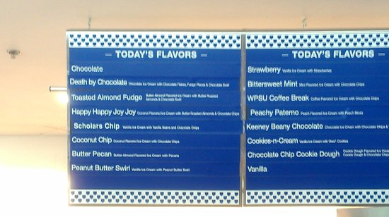 Berkey Creamery: Flavor Menu Board