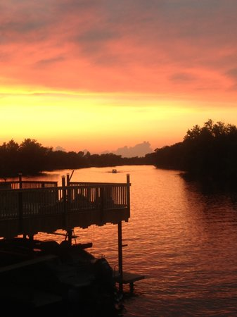 Monticello, IN: Sunset on the new deck of the Sandbar