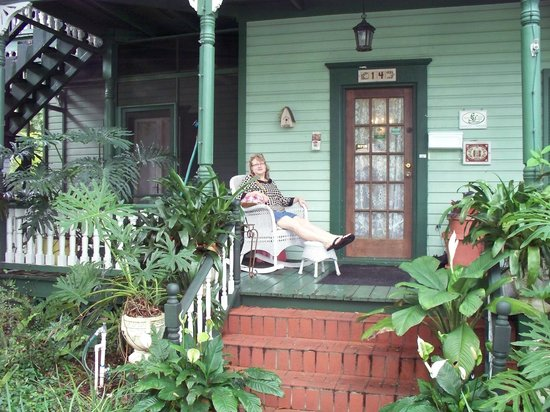 Alexander Homestead : My wife on the front porch.