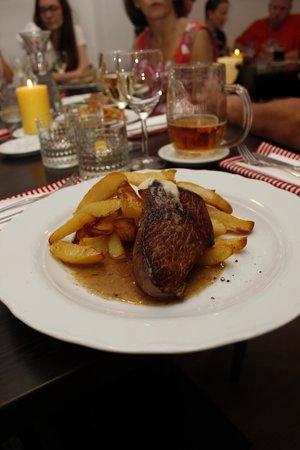 Restaurace Orisek: Beef Steak in light butter sauce, served with baked potato