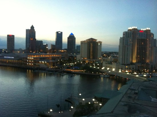 Westin Tampa Harbour Island: Toward downtown, Tampa Convention Center @ dusk.