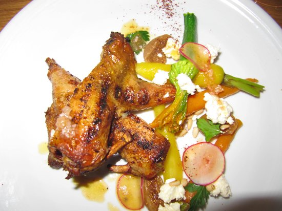 St Isidore : Barbecued spatchcock, iranian figs, carrots, fetta and pinenuts.