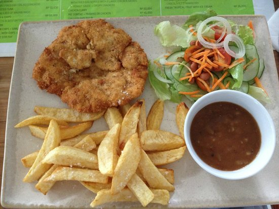 The Glass House: Freshly crumbed chicken breast with hand-cut chips and gravy