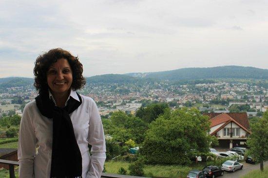 Gasthaus Maien: Vista da varanda da suite com Lorrach ao fundo