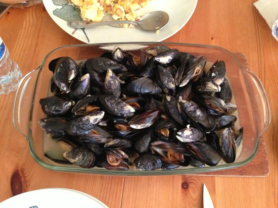 Pols Piece Holidays: Diner with mussels picked from Trevone bay