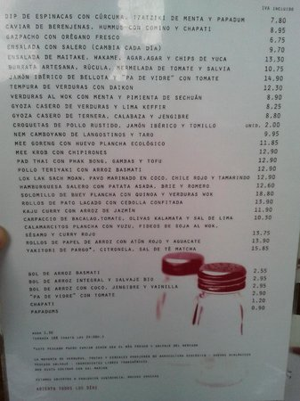 Restaurante Salero: Carta
