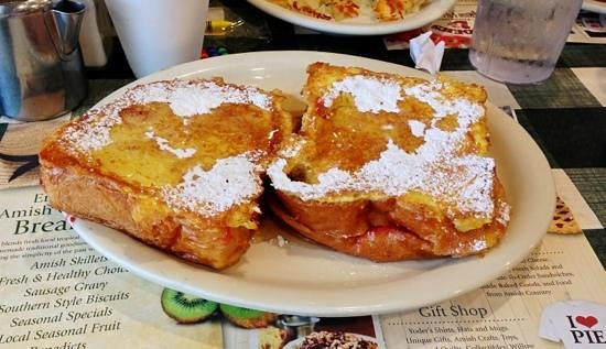 Yoder's Restaurant: raspberry stuffed french toast.