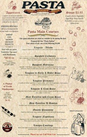 The Cook's Shop Restaurant's Pasta Menu