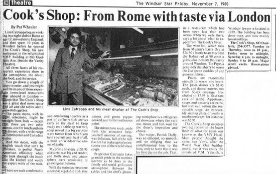 One of many news reviews of the Cook's Shop Restaurant
