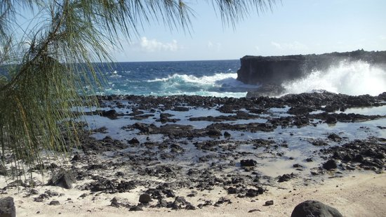 Moana O Sina: Rocky shore and blow holes