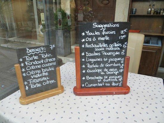 La Grange : finally - a menu only in French!