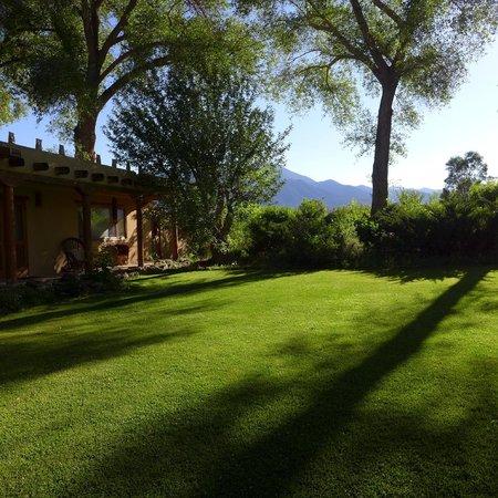 Hacienda del Sol: view from doorway of room to Sangre de Cristo Mountains
