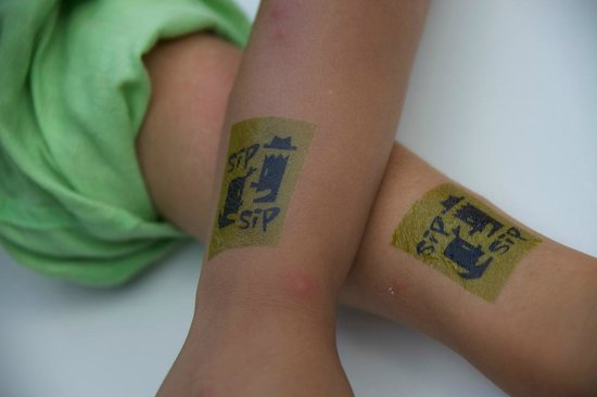 Kid's tattoos at Sip Sip!