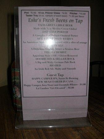 Eske's Brew Pub: Beer Menu