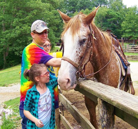Rawhide Ranch: Petting one of the horses!