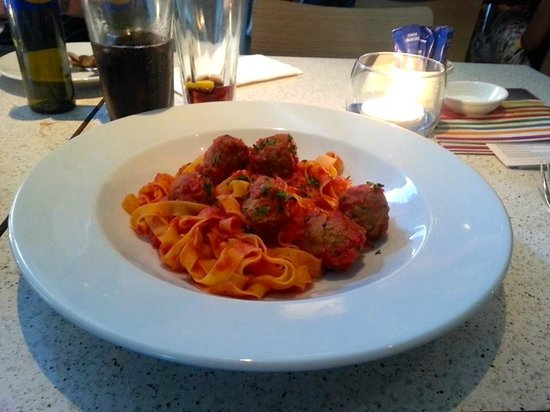 Carluccio's - Leeds: Fettucce Con Polpette - Egg pasta ribbons and homemade meatballs in a rich tomato and basil sauc