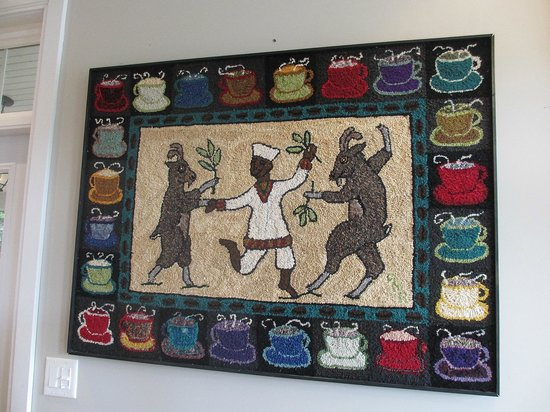 Dancing Goat Cafe & Bakery: local hand hooked rug