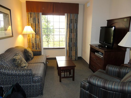 Staybridge Suites Eastchase Montgomery : Living Area.  Couch pulls out