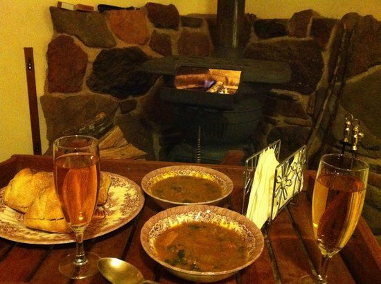 Ilkley Cottages: Dinner by the fire