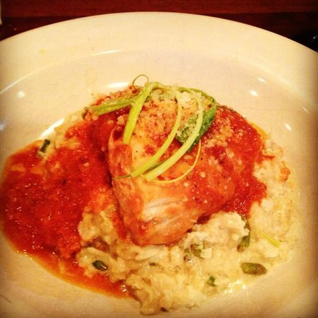 Mio Bistro Mobile : wild sea bass with fra diavolo over crab and asparagus risotto