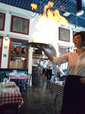 Joe Feta's Greek Village : Flaming Saganaki: Opa!