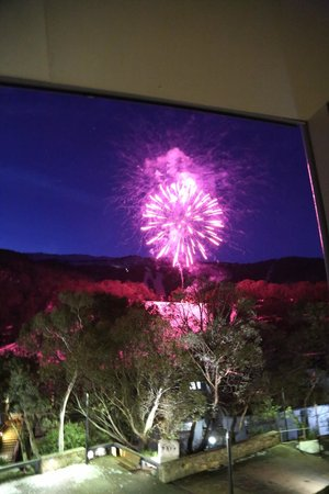 Squatter's Run: Fireworks & mountainside view from the balcony of the room